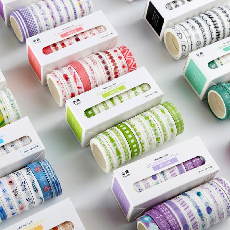 10 rollos de series Básicas de colores en caja conjunto de cintas...