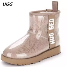 2020 Winter Snow Women Boots Plush Warm Shoes Platform Boots Women Transparent Waterproof leather Fu