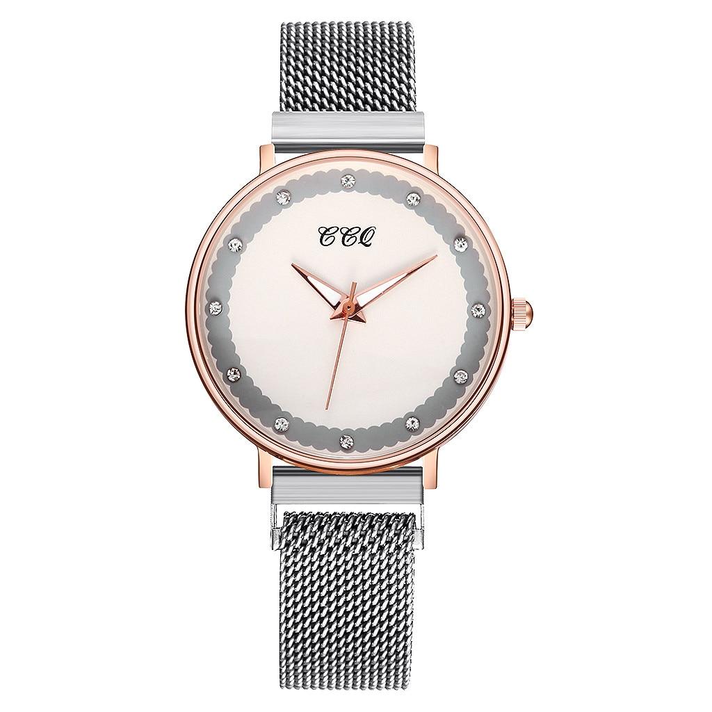Fashion Personality Dial Stainless Steel Mesh Belt Ladies Quartz Watch Rhinestone Exquisite Women Casual Watch часы женские умные часы huawei watch steel mesh mesh серебряная сталь 42mm
