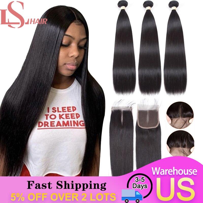 Ls Straight Human Hair Bundles With Closure 3 Bundles With Closure Brazilian Hair Weave Bundles With Bady 4x4 Closure Remy Hair Bundles With Closure Bundles With Colorbundles Hair Weave Aliexpress
