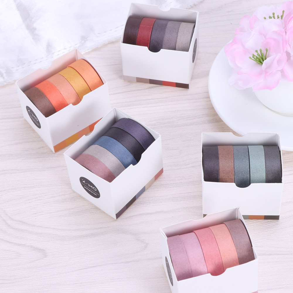 5pcs DIY Color Decorative DIY Sticky Paper Tape Masking Adhesive Tape Scrapbooking DIY Decoration (Mixed Color)