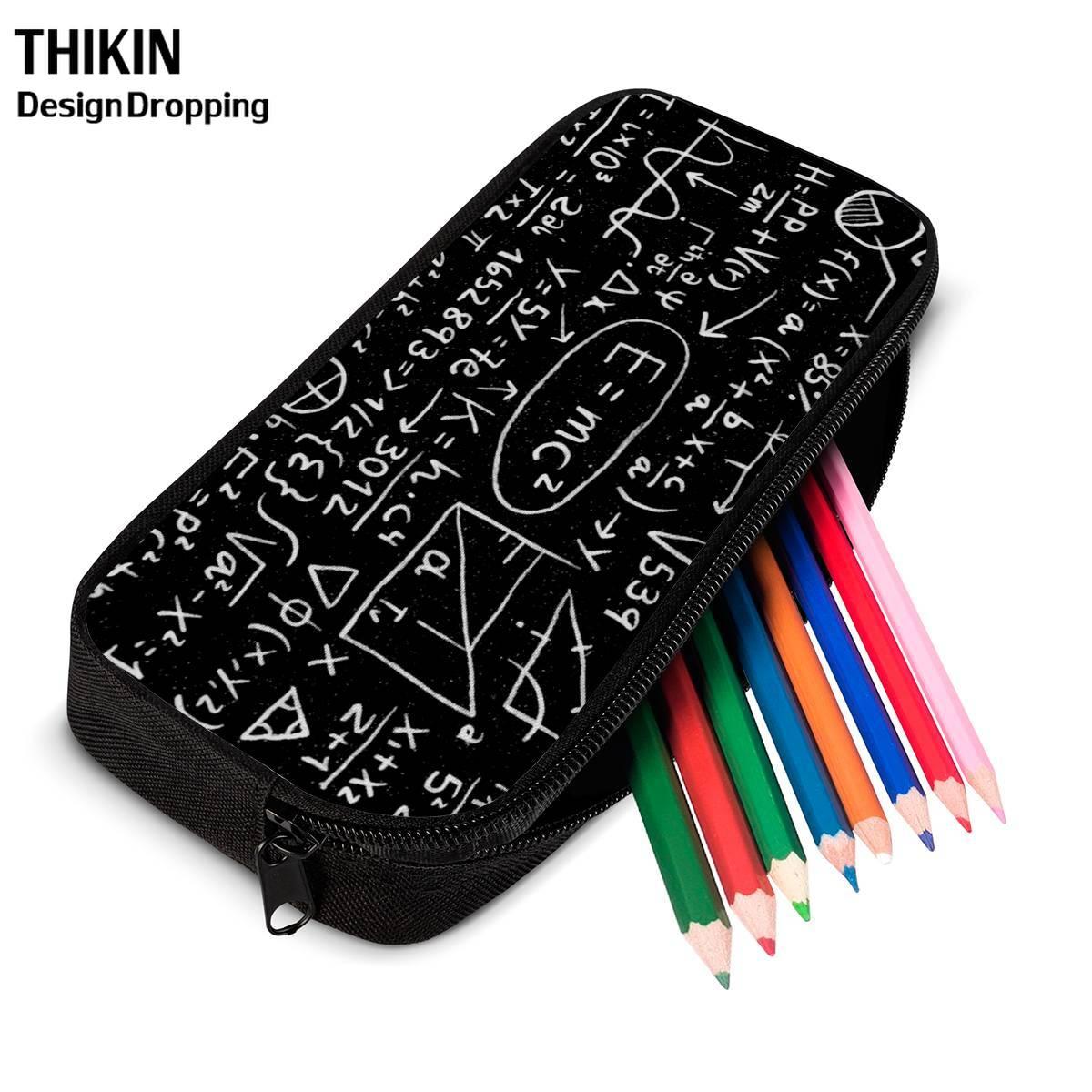 THINK Math Formula Print Women Make Up Cases Kids Pencil Case Common Equations Pencil Pouch Children Girl Holder Boys Portable