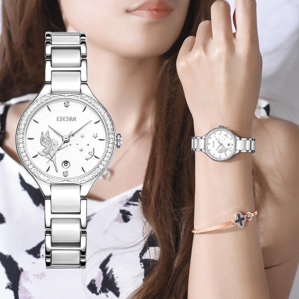 دوم النساء المعصم الساعات الأزياء السيراميك مربط الساعة الماس ووتش الأعلى العلامة التجارية الفاخرة اللباس السيدات جنيف كوارتز ساعة G-1271D-7M2