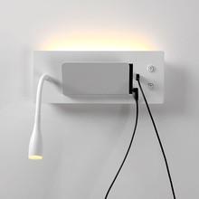 Applique lampe de chevet lampe de lecture avec interrupteur support pour téléphone mobile rechargeable hôtel chambre applique murale
