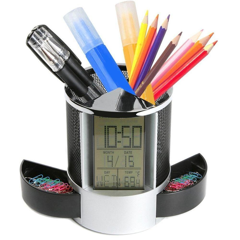 Office LCD Alarm Clock Time Temperature Display Pen Pencil Holder Desk Organizer new abs multi functions digital desk pen pencil holder display lcd alarm clock thermometer