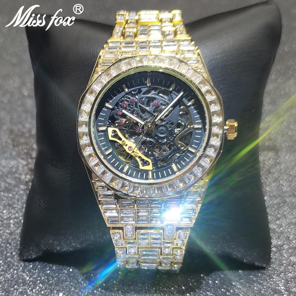 MISSFOX Hip Hop Mechanical Men Watches Diamond Royal OAK Gold Automatic Wristwatch Classic Square AAA Jewelry Relógio masculino