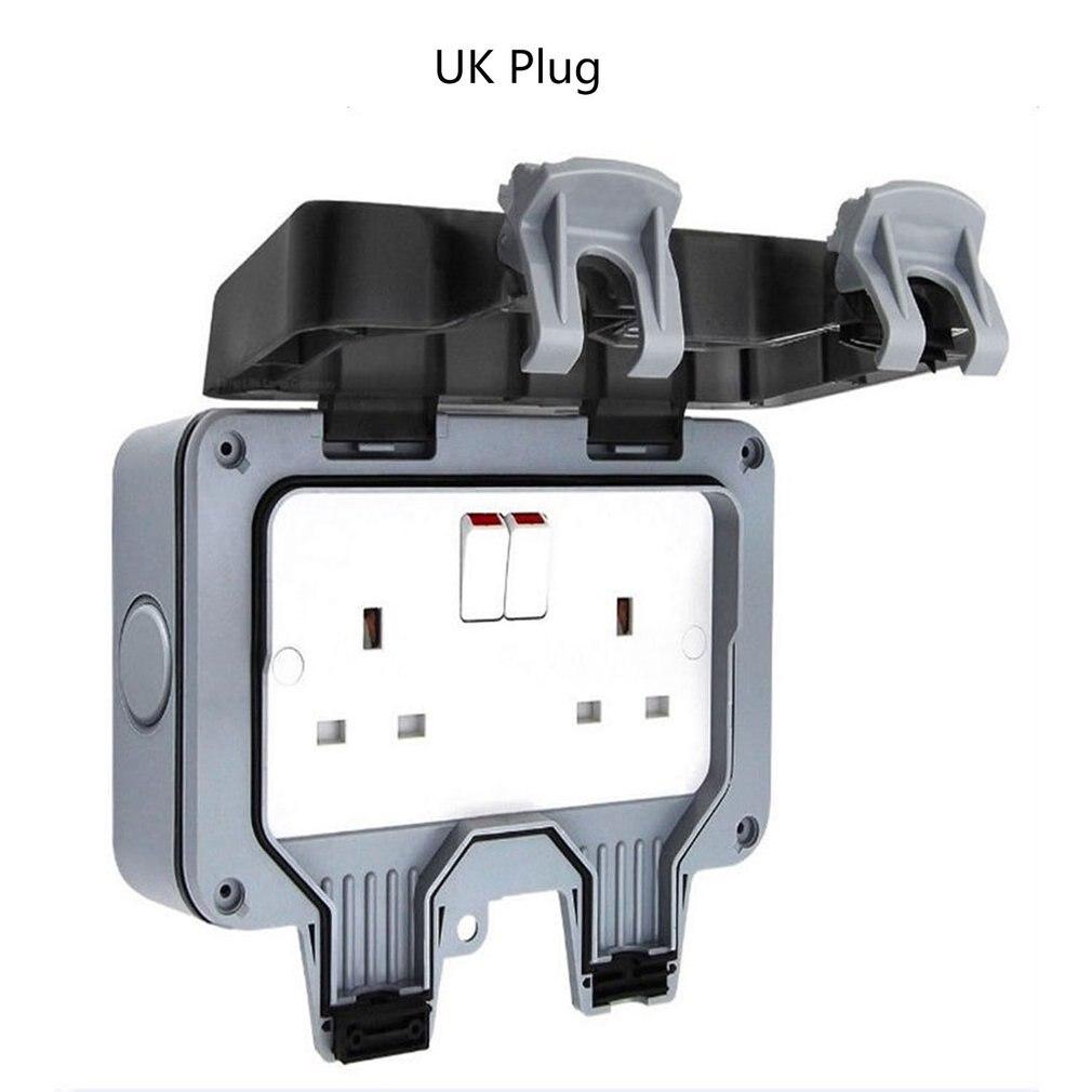 IP66 UK caja de enchufe impermeable al aire libre interruptor de pared a prueba de agua de baño interruptor de pared a prueba de agua Socket