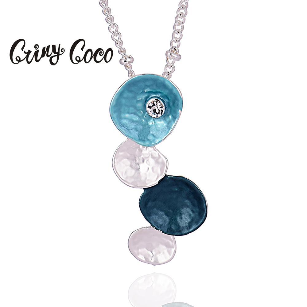 Cring Coco, nuevo collar geométrico de alta calidad 2020 para mujeres, dijes femeninos, gargantilla de cadena de Color plateado, collares y colgantes esmaltados
