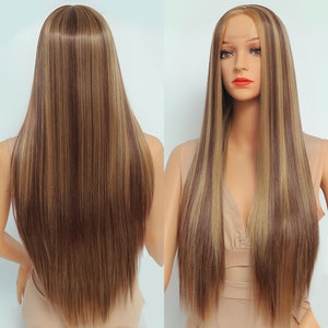 Beauebony Long Straight Highlight Wig Synthetic Lace Wig Ombre Blonde Dark Brown Part Lace Wig Hair For Women Natural Soft Hair