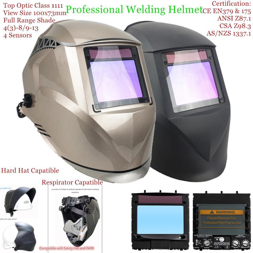 "Welding Mask Top Size 100x73mm(3.94x2.87"") Top Optical Class 1111 4 Sensors Shade Range 4(3)-13 Auto Darkening Welding Helmet"