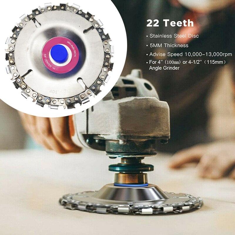 4 ''угловый шлифовальник диск 22 зуб цепная пила по дереву Culpting Пластик инструмент дерева измельчители резьбой грузоподъёмная цепь веревочки