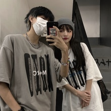 2021 Summer New Korean Style Student Personalized Letter Print Loose Short Sleeve T-shirt Couple's T