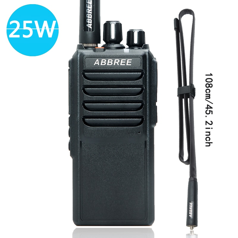 Abbree AR-25W 25W High Power Walkie Talkie UHF 400-480MHz 10Km Range Radio 4000mAh Battery + Foldable CS Tactical Antenna