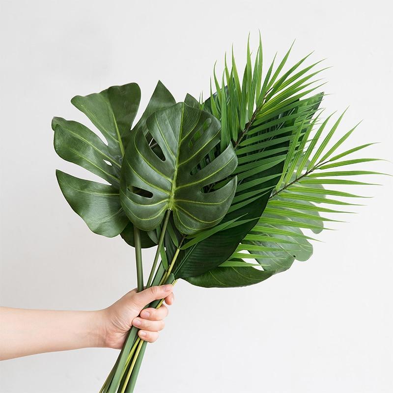 Una pieza, plantas artificiales monstera de plástico, hojas de palmera tropical, accesorios de decoración para jardín de casa, fotografía decorativa