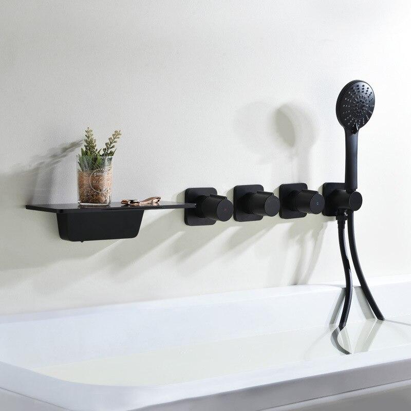 النحاس حوض استحمام للاستخدام في الحمام صنبور مجموعة أسود/كروم شلال صنبور صنبور حوض خلاط الحائط خلاط دش مجموعة الصنابير دش رافعة