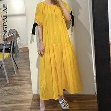 Shengpalae vestido feminino solto de cintura alta, vintage, elegante, vazado, nas costas, manga bufante, vintage, verão 2020 za4446