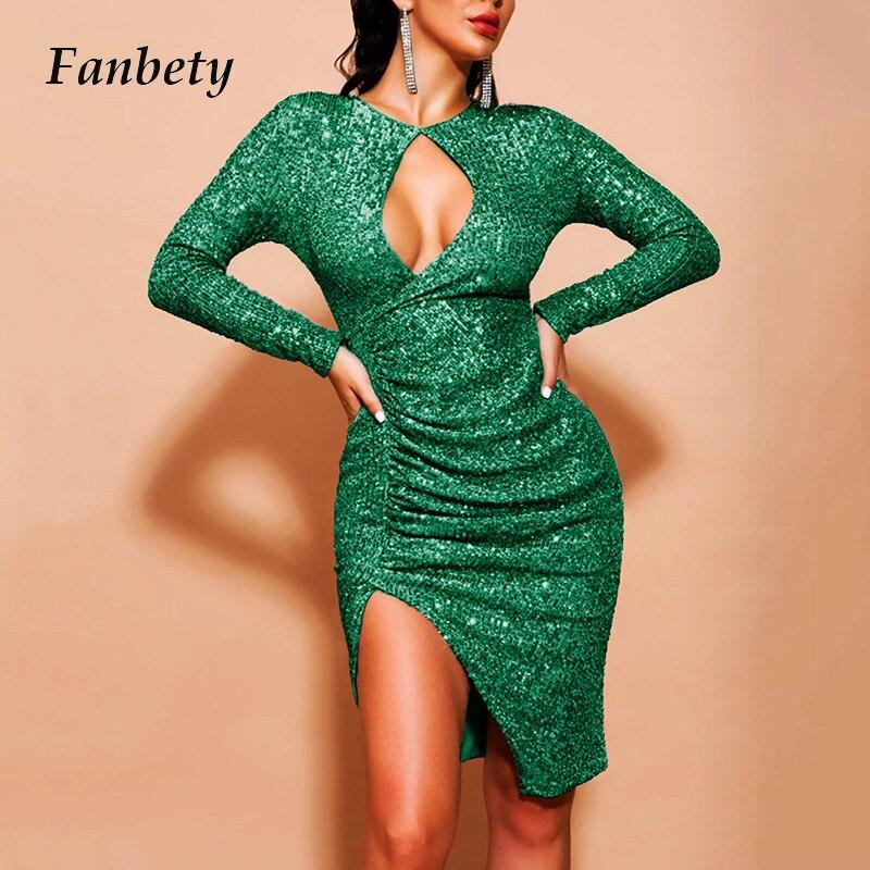 Sexy feminino profundo decote em v vestido de lantejoulas glitter brilhante hip pacote vestido de festa outono elegante envoltório manga longa mini vestidos