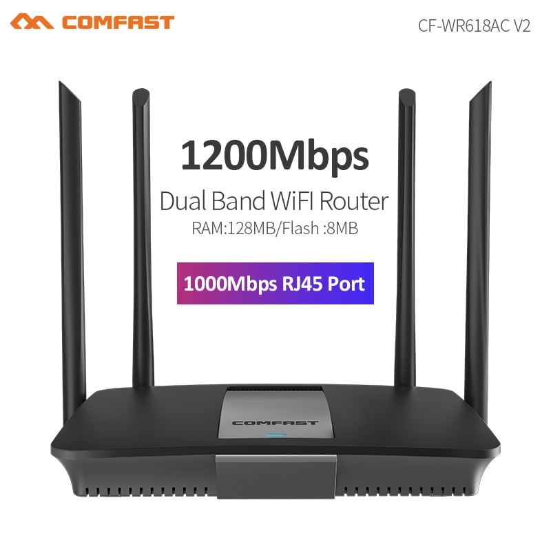 300M-1200Mbps 2.4/5.8GHz Wireless Router With High Gain Antenna Wider Coverage Wan/Lan Smart Home Use WiFi Router