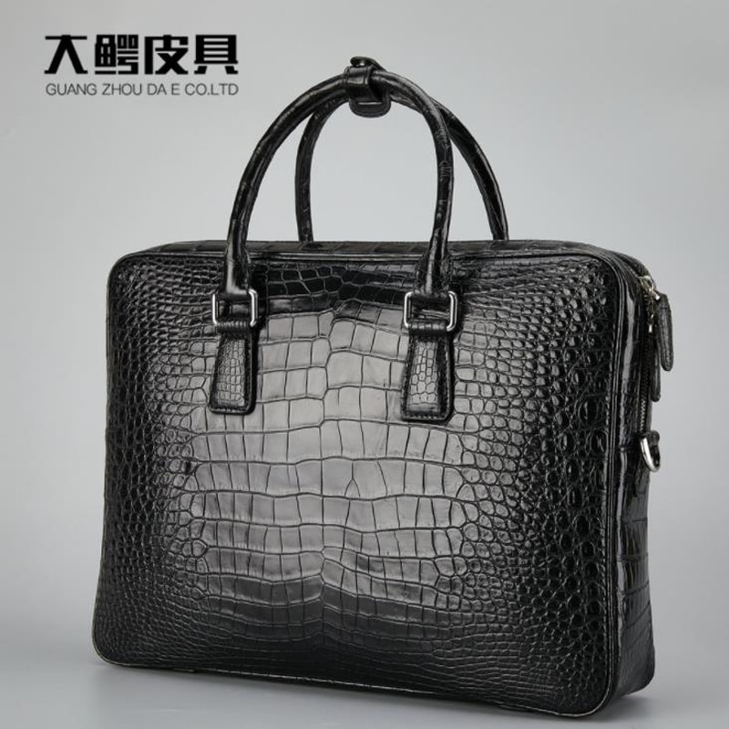 Exquisite Mens Black 100% Genuine Crocodile Leather Handbag Shoulder Bag Laptop Casual Handbags Messgenger Bag Crossbody Bag