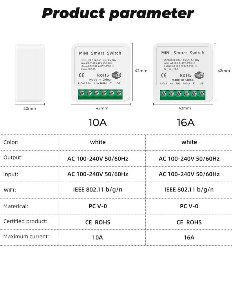 10PCS 16A Mini Wifi Smart Automation Life Module Smart Switch Timer Supports 2 Way Control With Alexa Google Home Smart Life App