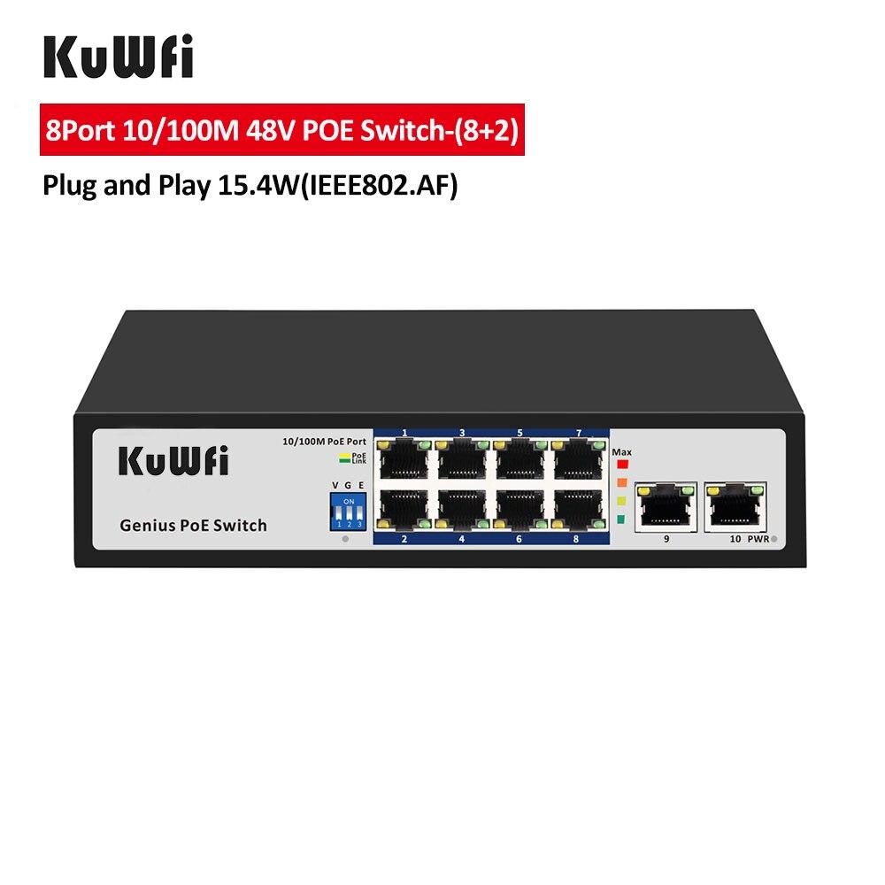 kuwfi 8 porto poe switch 10 100m interruptor de rede ethernet 48v para camera ip