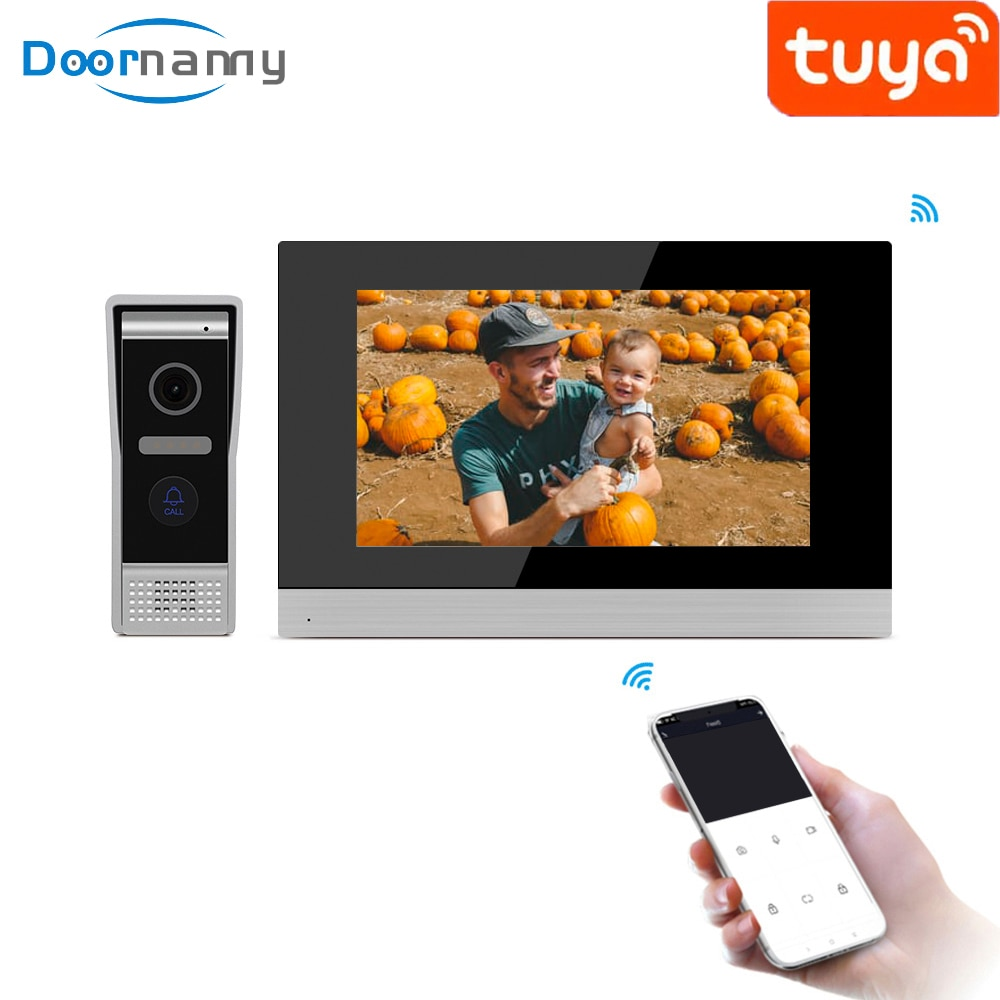 wireless wifi ip box for video doorphone doorbell building intercom system control 3g 4g android iphone ipad app on smart phone Doornanny 10 Inch Tuya Smart IP Video Intercom System Doorbell For Home Apartment Wifi Video Eye Wireless Call Phone Control