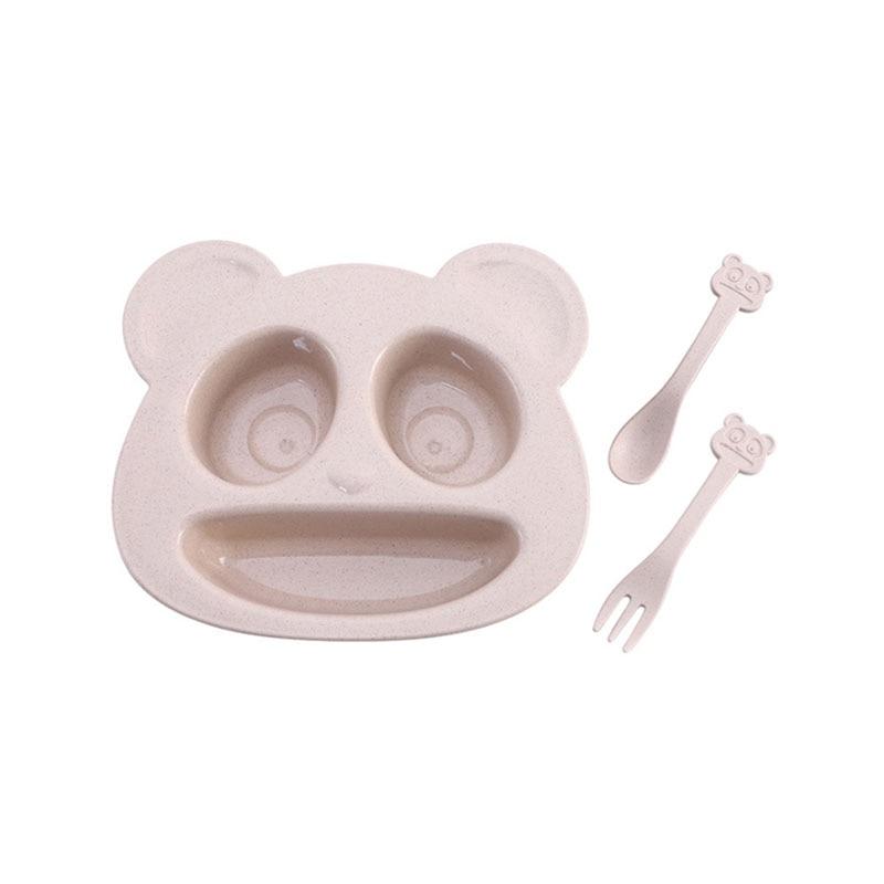 1 комплект, Детская тарелка, ложка, вилка, столовая посуда, мультяшный медведь, детские блюда, набор обеденной посуды для ребенка, тарелка для...
