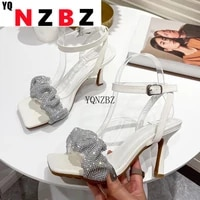 yqnzbz 2021 new summer dress silver pleated sandals women high heels sandals square toe sexy party ladies shoes