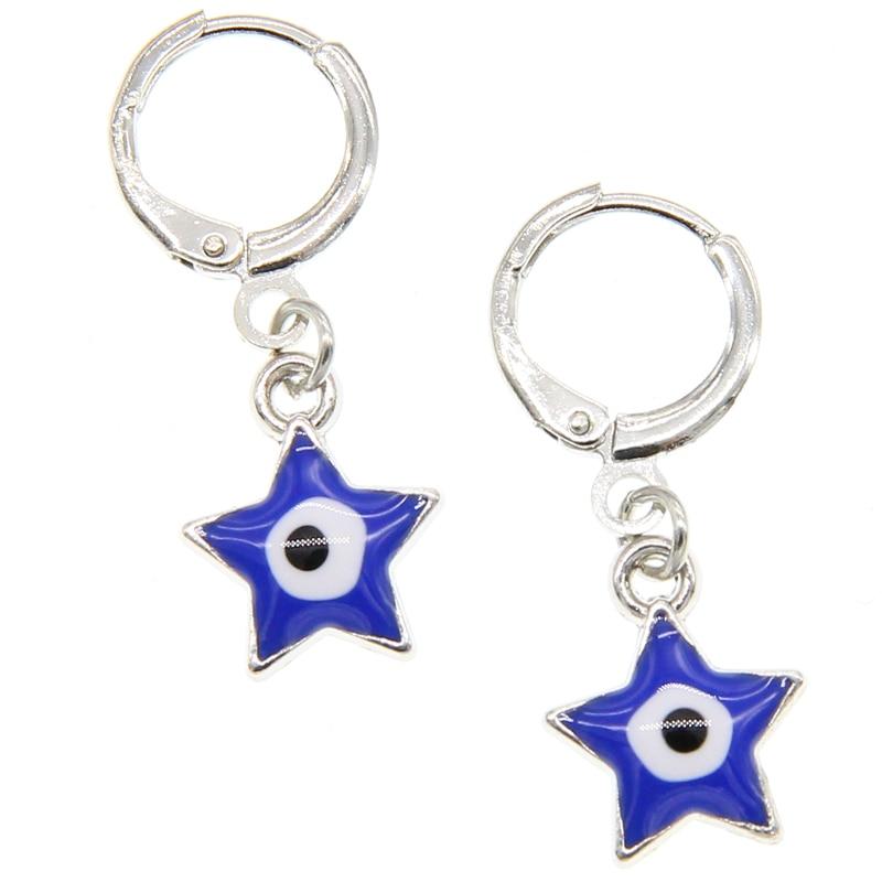 De moda de mujer verano Estilo bohemio ojo de la suerte pendientes de zafiro maldito azul Ojo de metal círculos cruzados colgante ojo de la suerte pendientes judío