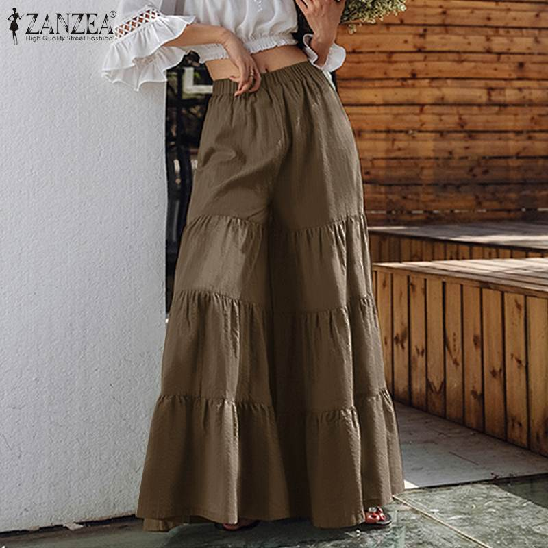 Zanzea calças plissadas femininas, calças de perna largas, cintura elástica, plus size, casual, turnip, moda feminina 2020