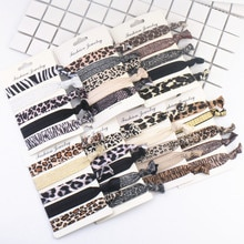 Bandeau élastique imprimé léopard 5 pièces/ensemble   Nouvelle mode, accessoires de coiffure de Yoga pour femmes et filles, couvre-chef