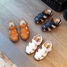 어린이 소년 샌들 여름 어린이 아기 벨크로 비치 소프트 홀 Anti-collision 귀여운 신발 유아 소녀 신발 소년 샌들