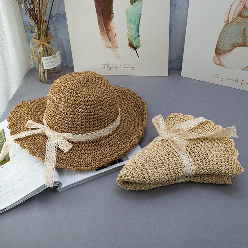 Sombreros de paja señora ocio ir en un viaje sombrero de paja arco al aire libre en protector solar de vacaciones sombrero de sol