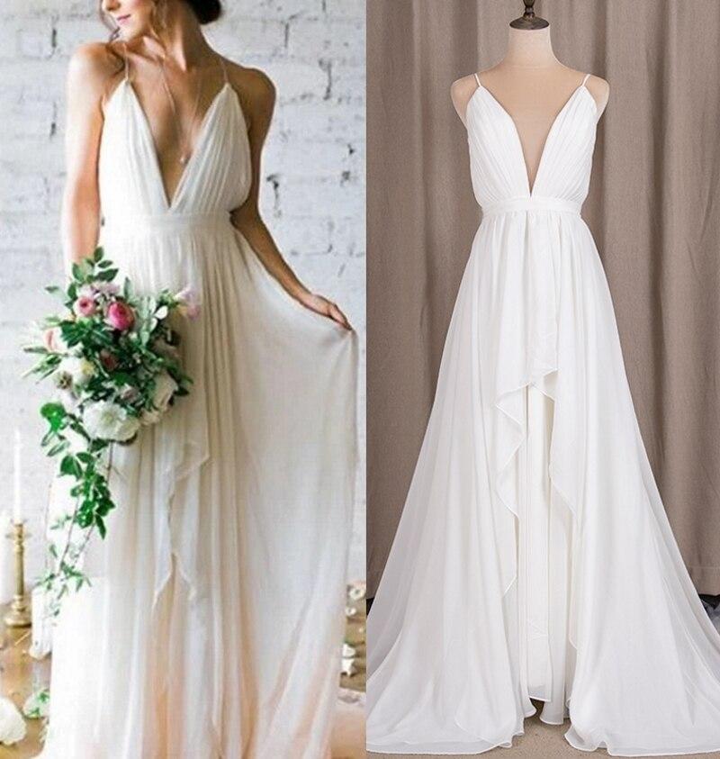 #6276 100% Real Photos Deep V-Neck Spaghetti Strap Boho Sexy Chiffon Plus White Wedding Dress For Mature Woman