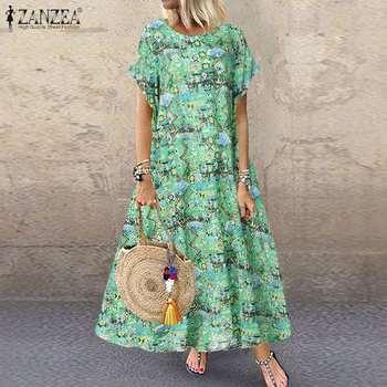 Женское богемное пляжное платье ZANZEA, Летнее Длинное платье с коротким рукавом и цветочным принтом, винтажный кафтан, Vestido, макси платья, Femme