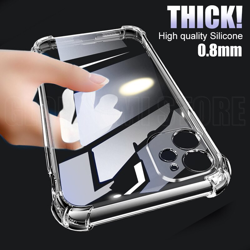 0.8mm Thick Shockproof Silicone Phone Case For iPhone 12 Pro Max lens Protection Case on iPhone 11 P