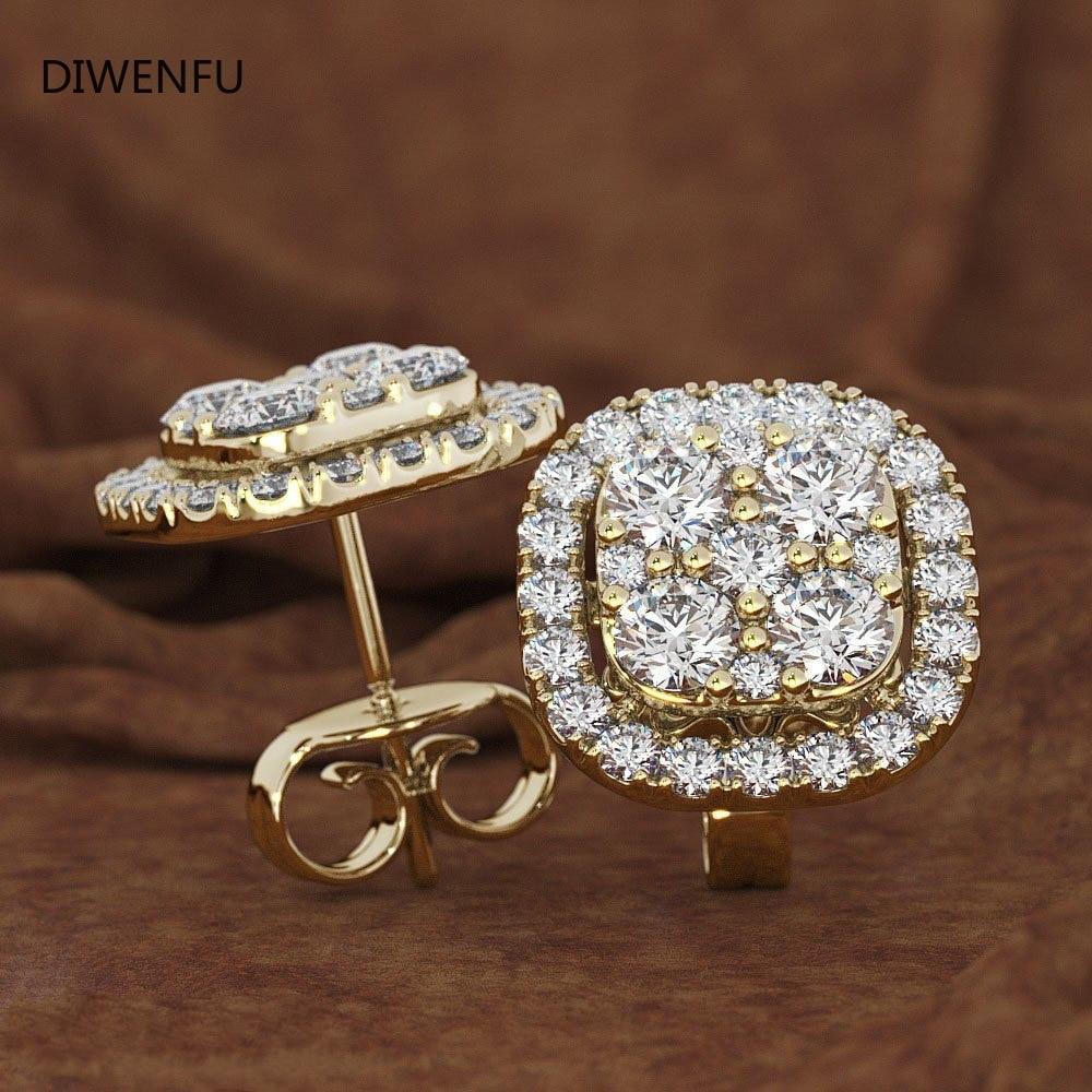 14K золотые серьги с бриллиантом чистый драгоценным камнем для женщин Перидот Oorbellen Bijoux Femme (украшения своими руками) Bizuteria серьги-гвоздики зо... недорого