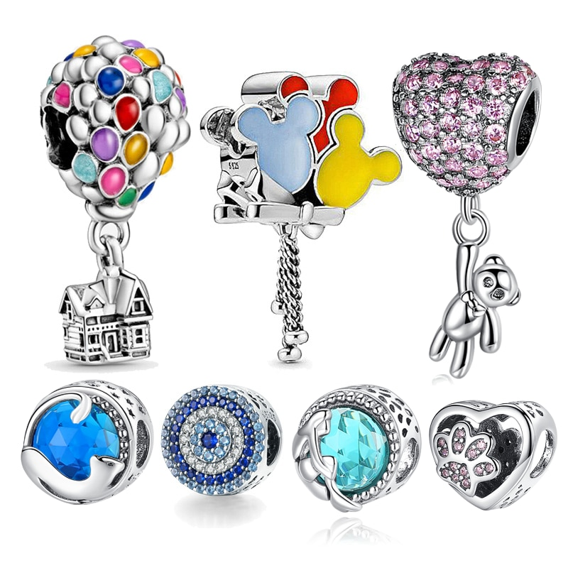 Hot Sale 100% Real 925 Sterling Silver Ariel Balloon Charm Fit Original Pandora Bracelet Making Fash