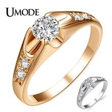 UMODE mode or Rose couleur anneaux de mariage pour les femmes Bague de fiançailles avec qualité supérieure AAA CZ cristal belle Bague Femme AJR0064