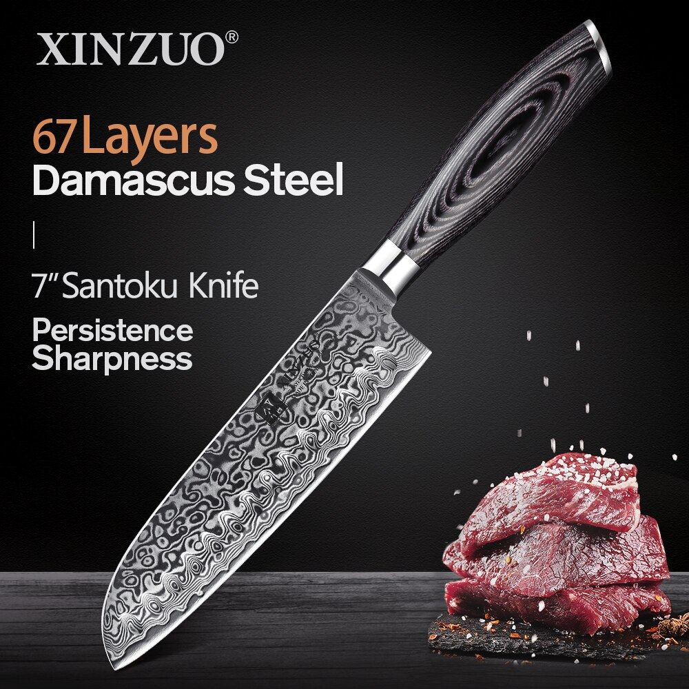 XINZUO-سكين سانتوكو مقاس 7 بوصات 67 طبقة ، شفرة حلاقة دمشق من الفولاذ ، سكين طاهي احترافي ، سكاكين مطبخ صينية جديدة ، مقبض Pakkawood