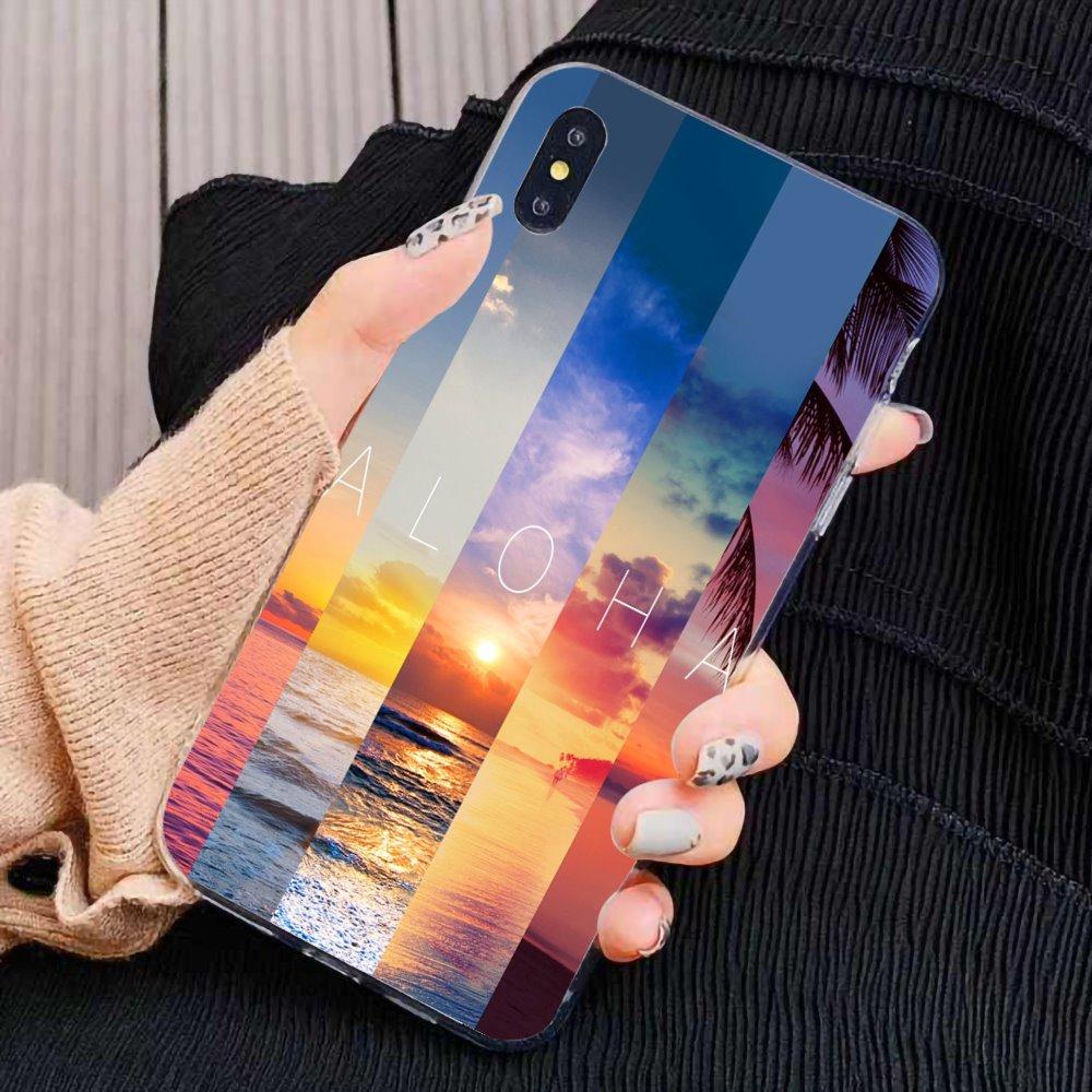 Puesta de sol palm Hawai Aloha árbol suave TPU caso de teléfono para Samsung Galaxy A10 A30 A40 A50 A60 A70 S6 activo Nota 10 Plus M30