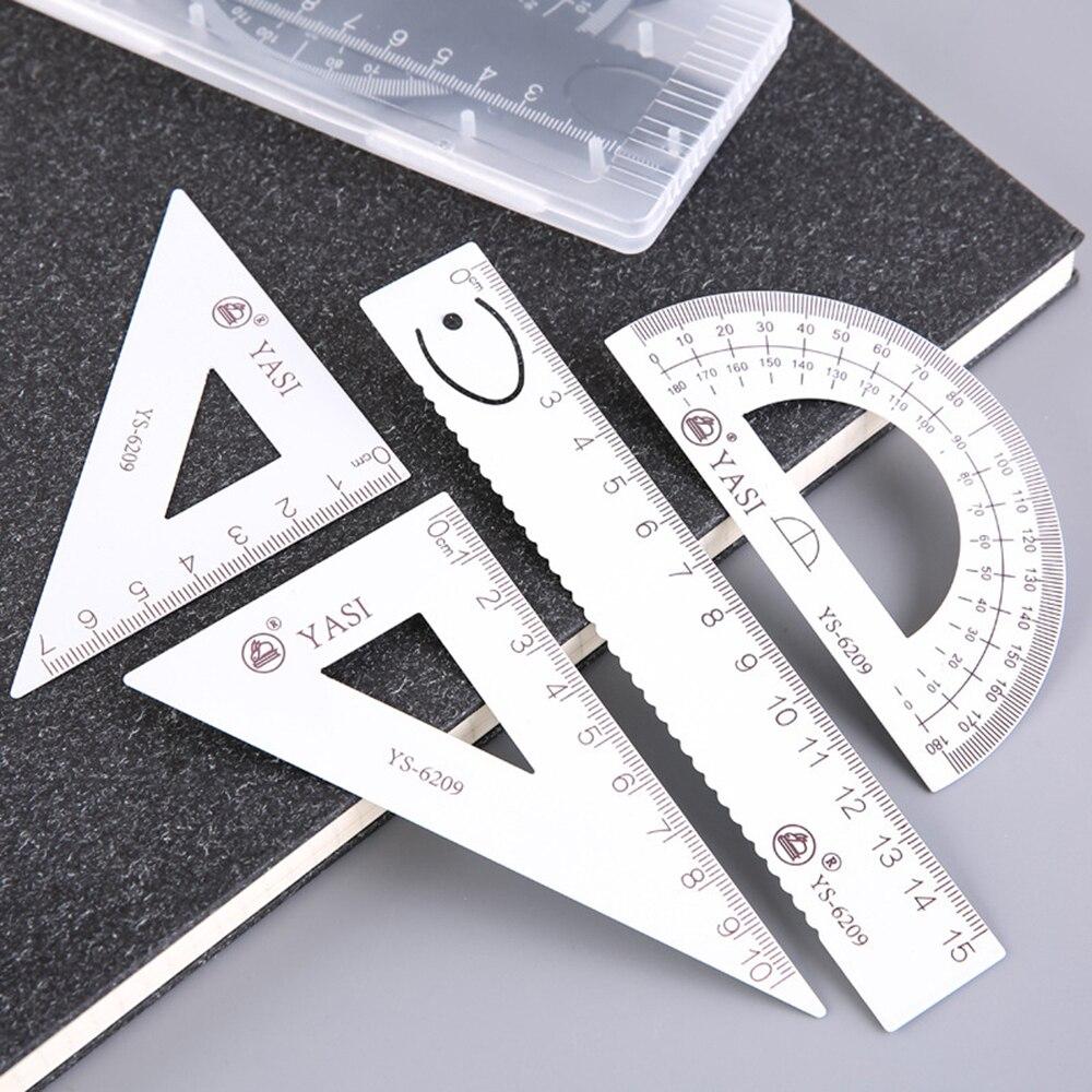 4 unids/set regla de Metal triángulo cuadrado regla escuela estudiantes herramientas de dibujo regla de escritorio para la escuela