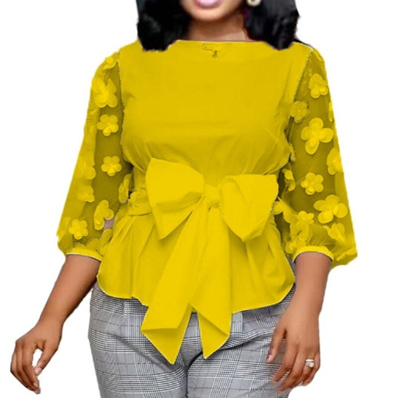 Office Ladies Summer White Work Blouse Plus Size 2020 Women Tops Shirt Mesh Flower Bow Tie Slim Elegant Fashion Female Bluas