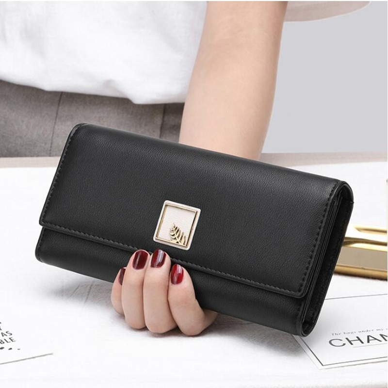 Purses Card Holder New Fashion Women Long Clutch Wallet Large Capacity Phone Wallets Leaves Female P