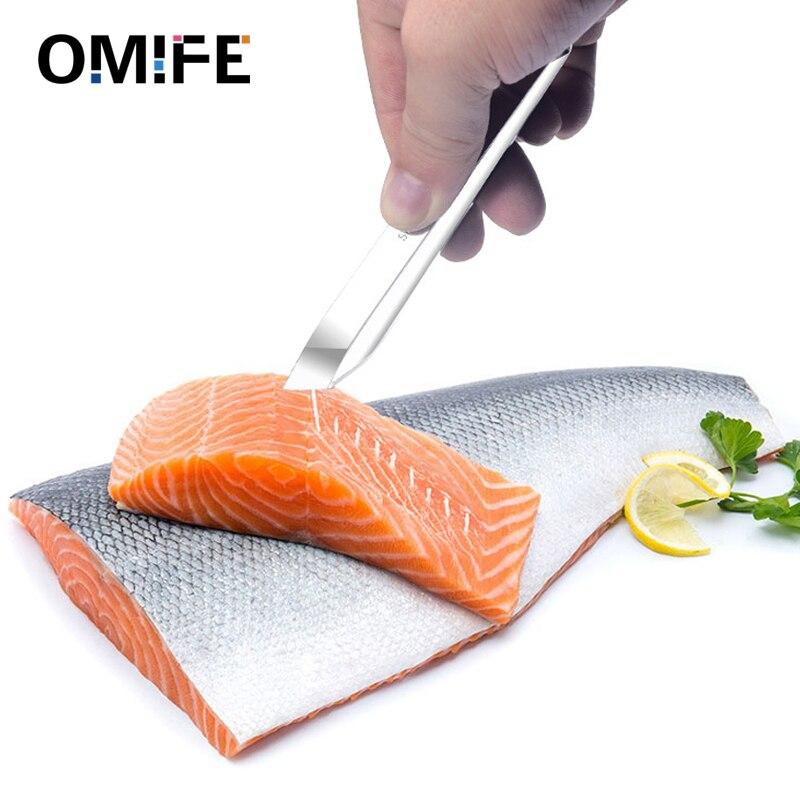 Omife de acero inoxidable hueso de pescado pinzas removedor de la pesca de salmón huesos cuchillo pinza extractor pinzas recogida marisco herramienta galletas
