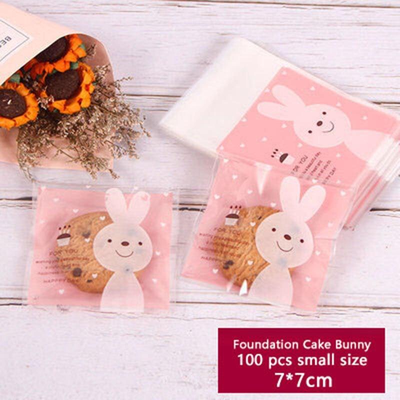 Paquete de jabón para galletas, 100 Uds., bolsa de plástico autoadhesiva de conejo Rosa transparente, galletas, Color, decoración para fiesta de cumpleaños o boda