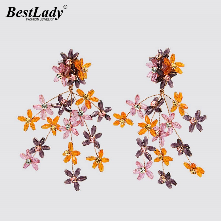 Best Lady New ZA Glass Flower Earrings For Women Bohemian Fashion Luxury Colorful Fish Drop Earrings Wedding Jewelry Party Gifts