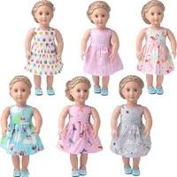 18 inch girls doll clothes summer print dress american newborn skirt baby toys fit 43 cm baby dolls c898