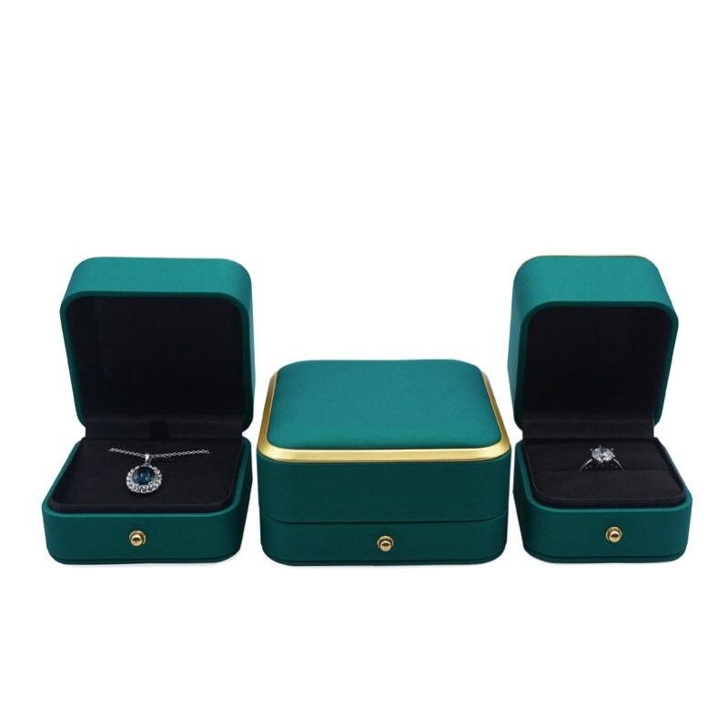 luxury necklace ring gift box paper bag blue pu leather organizer wedding pendant chain packaging handbag bracelet storage case 2021 Luxury PU Leather Ring Pendant Bangle Box Wedding Jewelry Gift Storage Packaging Box