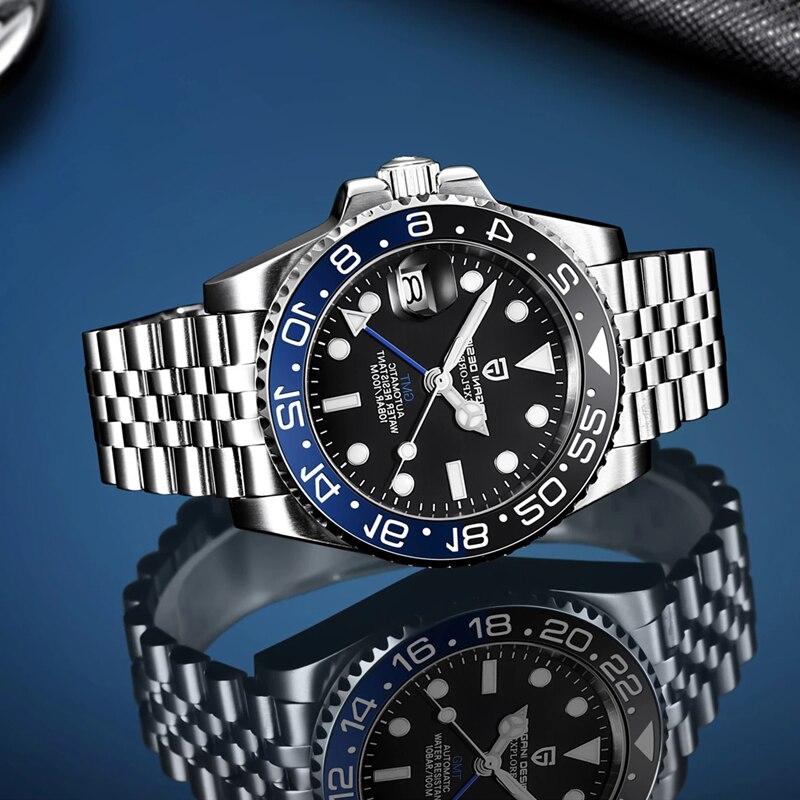 باجاني تصميم الرجال GMT العلامة التجارية ساعة أوتوماتيكية فاخرة الياقوت الزجاج ساعة ميكانيكية الفولاذ المقاوم للصدأ مقاوم للماء 100 متر Montre أو...